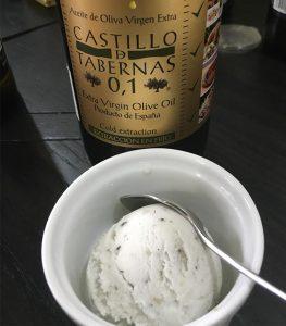 酸度0.1エクストラバージンオリーブオイル『カスティージョ・デ・タベルナス0.1』はアイスにも合います。