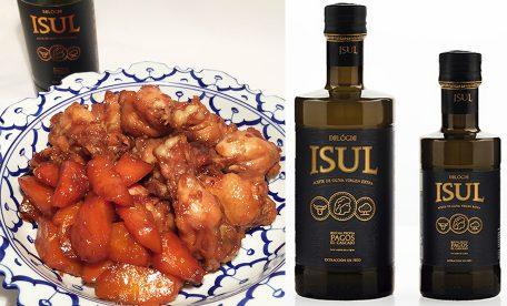 オリーブオイルをちょい足し、鶏ウイングと人参の甘辛煮