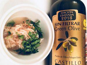 オリーブオイル おすすめ カスティージョ・デ・タベルナス0.1 アミの塩辛にかけてみよう