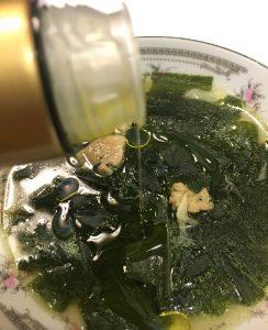 韓国風わかめスープとオリーブオイル