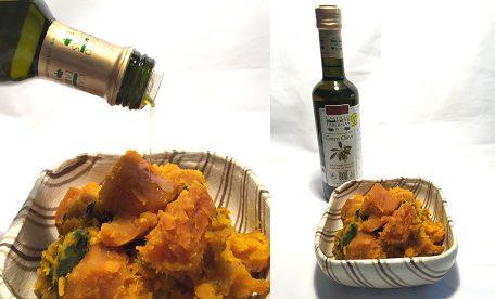 かぼちゃの煮つけとエクストラバージンオリーブオイルは絶品