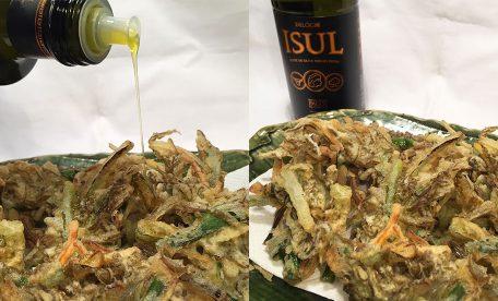 今日のお夕飯に絶品おすすめ料理 もずくの天ぷらと酸度0.1エクストラバージンオリーブオイル