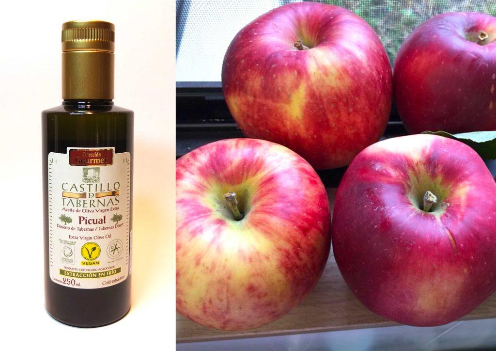 オリーブオイル,カスティージョ・デ・タベルナス,りんご,フルーツにかけるとおいしいオリーブオイル