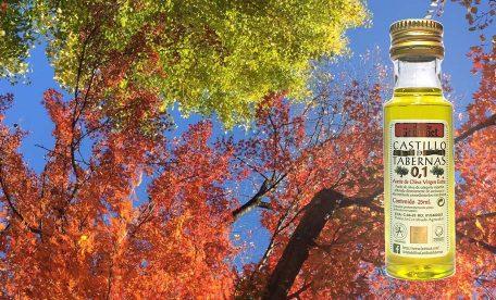 おいしいエクストラバージンオリーブオイルを持って素敵な秋のドライブ