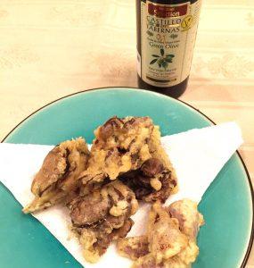 天然舞茸をオリーブオイルで天ぷらにしました