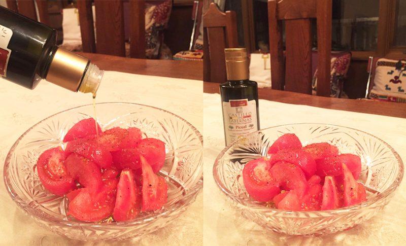 おいしいトマトと最高品質 酸度0.1のオリーブオイルで幸せな食卓