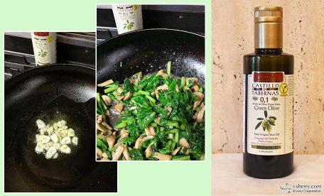 【おすすめ】オリーブオイルで美味しい!マッシュルームとかぶの葉のニンニク炒め