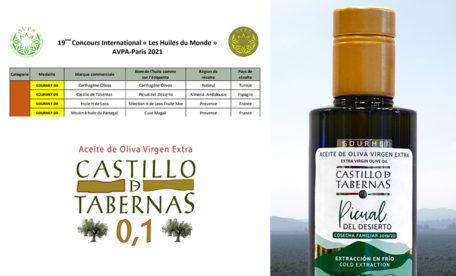 カスティージョ・デ・タベルナス0.1が世界で権威あるオリーブオイルの賞を受賞しました。